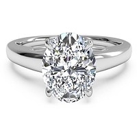 A Classic 5CT Perfect Oval Cut Russian Lab Diamond Engagement Ring