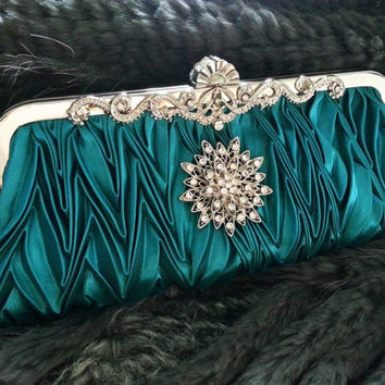 Turquoise Evening Party Clutch - Wedding Bridal Bag - Crystal Rhinestone Brooch  Art Deco Style - Satin - Love Bling Bling