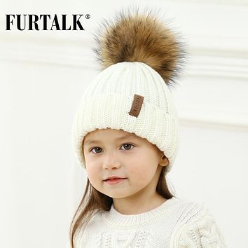 FURTALK Unisex Kids Ages 2-7 Warm Winter Pom Pom Hat for Girls and Boys Chunky Thick Stretchy Knit Beanie Hats