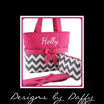 Chevron Quilted Personalized Diaper Bag