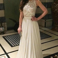 Lace Top Prom Dresses White Prom Dress Lace Evening Dress