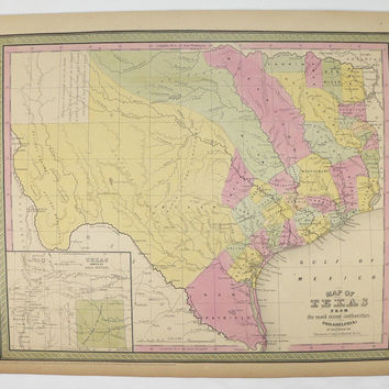 Rare Antique Map of Texas 1852 Mitchell Texas Map, Lone Star State County TX Map, Texas History Buff Gift for Husband, Vintage Texas Art Map