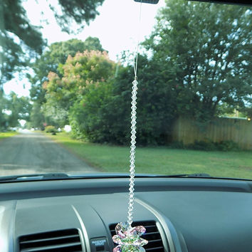 Crystal Car Charm, Swarovski® Crystal Suncatcher w/Pink Green Crystals, Car Ornament for Rearview Mirror