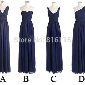 Navy Blue Bridesmaid Dresses Chiffon Floor Length One Strap Long Bridesmaid Dress Women Free Shipping F25