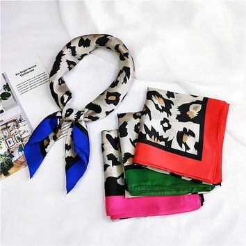 Imitate Silk Scarf Women Scarf Leopard Print Scarf Silk Bandana Hijab Middle Square Silk Scarf Wrap Luxury Gift for Women