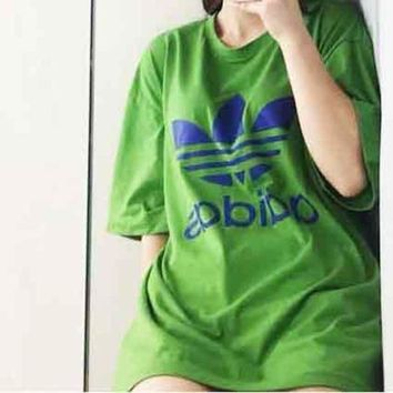 ADIDAS New fashion Green With Blue Logo Tee Shirt Round Loose Design Tan Top Green