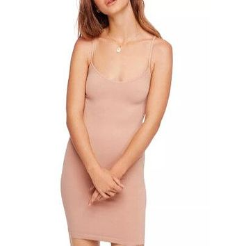 free people - seamless mini slip dress - nude