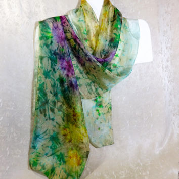 Silk scarf green floral Hand painted scarf silk Summer long scarf multicolor Wrap green yellow purple silk handpainted Bright color 195x45cm
