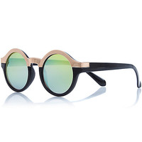 River Island Womens Black metal brow round sunglasses