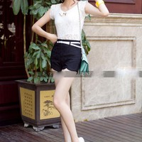 Fascinating Flowers Pattern Lace High Waist Shorts 3 Colors