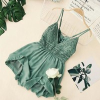 Sexy Women Lace Crochet rompers womens jumpsuit new Print Adjustable Strap Zipper Back Short Macacao Feminino overalls White