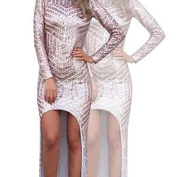 Anything You Want Gold Geometric Sequin Long Sleeve Scoop Neck Cut Out Back Asymmetric Mini Maxi Dress