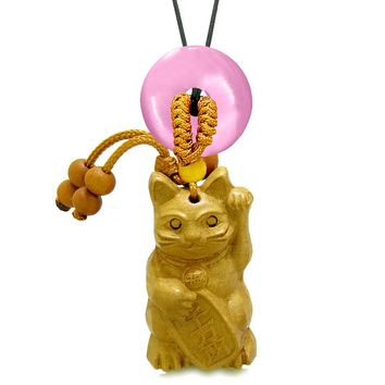 Maneki Neko Fortune Cat Car Charm or Home Decor Pink Simulated Cats Eye Lucky Coin Donut Protect Amulet