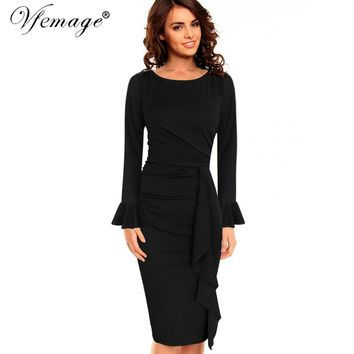Vfemage Womens Elegant Frill Ruffles Ruched Draped Vintage Retro Tunic Slim Work Business Casual Party Bodycon Pencil Dress 6213