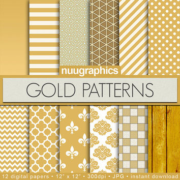 """Gold digital paper: """"GOLD PATTERNS"""" with gold backgrounds, stripes, polkadots, damask, quatrefoil, chevron, and wood"""