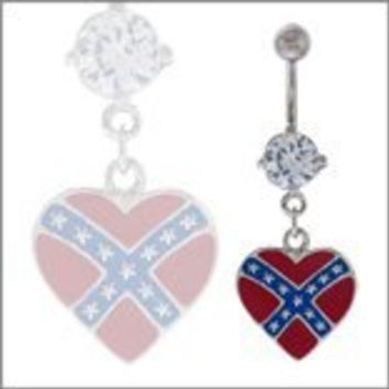 Body Accentz® Belly Button Ring Navel Heart Rebel Body Jewelry Dangle 14 Gauge