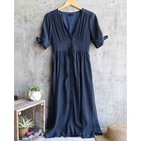 darling gauzy cotton endless summer midi dress - navy