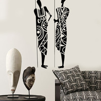 Vinyl Wall Decal African Warriors with Spears Ethnic Style Africa Stickers Mural Unique Gift (ig5018)