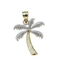 SOLID 14K WHITE GOLD YELLOW GOLD HAWAIIAN SCROLL PALM TREE CHARM PENDANT 14MM