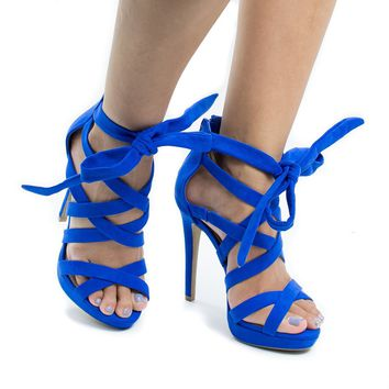 Madden13 Royal Blue By Wild Diva, Multi Strappy Ankle Wrap Platform Stiletto Heel Sandals