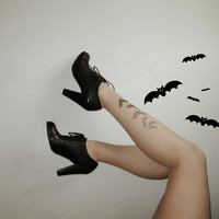 Bat Tattoo Tights Skin Color Legging Goth Halloween Bats Party