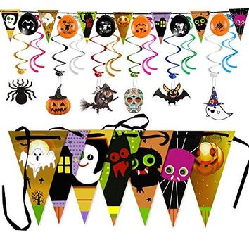 Halloween Party Decoration Triangle Banner Flag with Foil Swirl Ceiling Hanging Pumpkin Ghost Witches Bat Spider Skull Sticker Grimace (7 Triangle Flag + 6 Balloons+6 Cards+12 Swirls )Multicolor