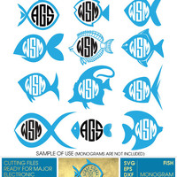 12 Fish Digital Monogram Frames - Vector Decal Clipart (SVG, eps, DXF, PNG) cards, stickers, transfers, Silhouette, cutting machines cv-368