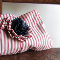 Nautical Striped Clutch -  Red White and Blue - French style Ticking
