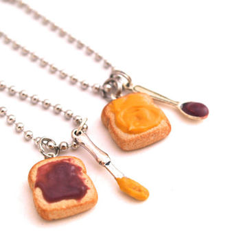 Best Friends PB & J Toasts Set, BFF Friendship Set, Polymer Clay Mini Food Jewelry, PB Jelly Keychains, Stocking Stuffers