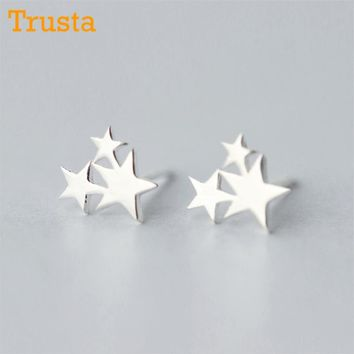 Trusta Newest 925 Sterling Silver Women's Jewelry Fashion Cute Tiny 3 Star Stud Earrings Gift For School Girls Kids Lady DS85