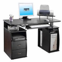 Espresso Computer Desk Storage Drawers Pullout Keyboard Tray Shelf Home Office