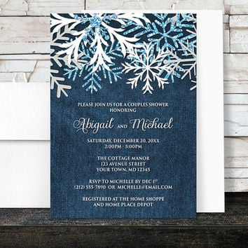 Winter Couples Shower Invitations Denim - Rustic Snowflake Navy Blue Denim Frosty - Printed Invitations