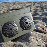 The loudest all weather bluetooth portable speaker system, 30 cal ammo cans, waterproof speakers and laser cut insert