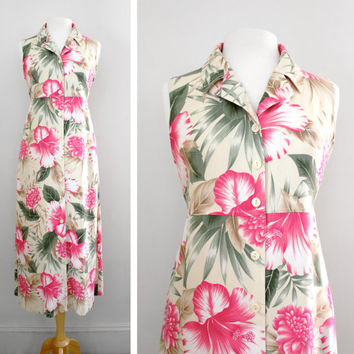 Vintage Floral Dress 90s Hawaiian Print Maxi Shirt Dress - Super Soft - Size Small to Medium
