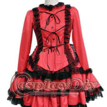Free Shipping Classic Red Cotton Lace gothic clothing  Lolita Dress
