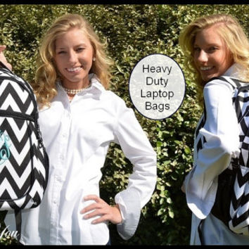 Black HEAVY DUTY Chevron Personalized Laptop Backpack -  Large Monogram Girls Zig Zag Striped High Middle School College Bookbag Computer