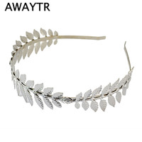 Fashion Gold Plated Metal Leaf Headband Hairband for Women Wedding Hair Accessories Tiara Elegant Silver Leaves Head Piece