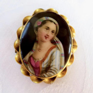Antique Cameo Brooch, Hand Painted Portrait, Porcelain Cameo Pin, Antique Cameo Jewelry
