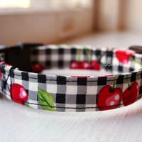 Handmade Dog/Cat Collar - B&W Plaid Cherries - Black and White - Adjustable Buckle - Dog Accessory - Pet Accessories - Breakaway Cat Collar