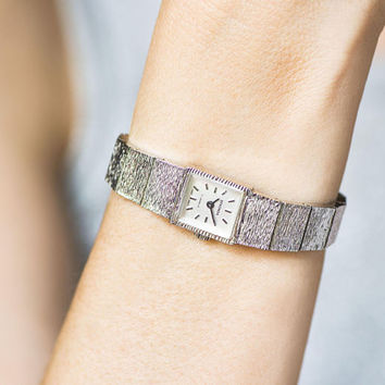 Square cocktail watch for lady vintage, silver shade tiny watch Sekonda, women's watch metallic shiny bracelet, party watch adjustable strap