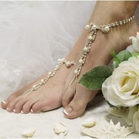 SJ2 PARISIAN pearl and rhinestone barefoot sandals-barefoot sandals, wedding shoes, anklets for women,barefoot sandal, footless sandles, beach wedding sandal, slave sandals, bridal barefoot sandals, wedding barefoot sandals,foot jewelry, pearl barefoot sa