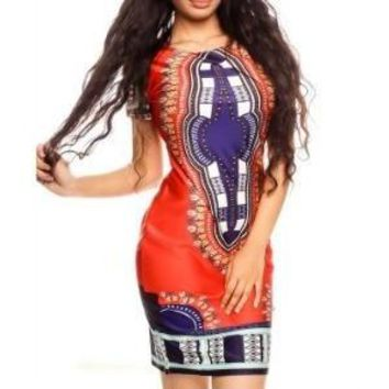 Orange Dashiki Print Dress