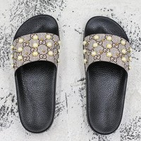 Gucci GG Supreme slide with pearls Slides Slippers - Best Deal Online