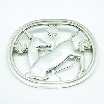 Georg Jensen Danish Silver Kneeling Deer Brooch No256, Denmark, Jewellery,  Hallmarked London 1960, REF:232W