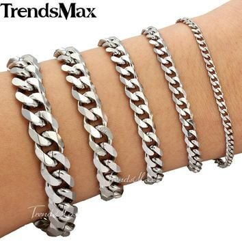 Trendsmax 18cm 20cm Womens Mens Bracelet Stainless Steel Jewelry Curb Cuban Link Chain Silver Color KBM03