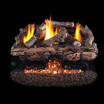 "SALE - Peterson Real Fyre Vent Free G10 Burner with 24"" Charred Split Oak Log Set"