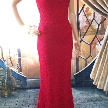 Sexy Red Lace Formal Mermaid Dress CUSTOM MADE - Bridesmaids - Party Dress