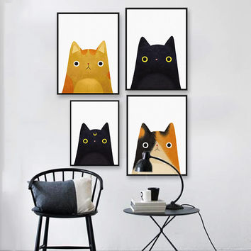 Original Watercolor Cute Japanese Cat Pet Poster Print Animal Picture Hipster Kids Room Wall Art Canvas Painting Gifts No Frame - *FREE SHIPPING*