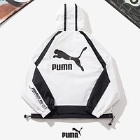 PUMA Fashion New Letter Women Men Hooded Long Sleeve Coat Windbreaker