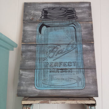 Ball Mason Jar Sign - Rustic Blue Glass